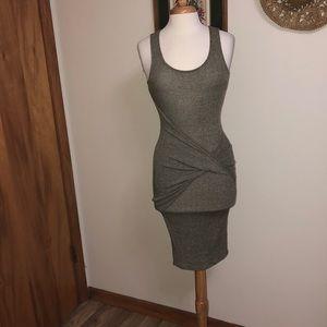 NWOT gray light weight knit midi dress